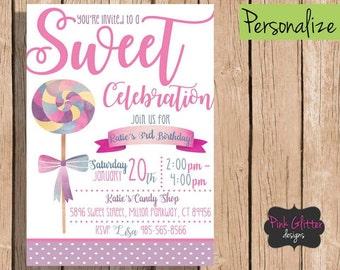 Candy Birthday, Candy Shop Birthday,  Candy Invite, Candy Birthday Invitation, Sweet Birthday, Sweet Birthday Invite, Sweet, Candy, Invite