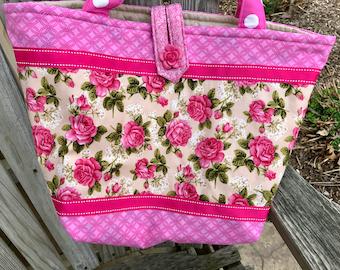 Hot Pink Roses Quilted Tote Bag Handmade Doodaba Handbag