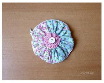 Delicate flower pouch - handmade