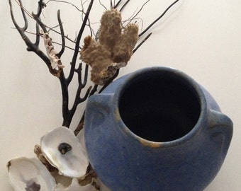 Burley Winter Arts and Crafts Brush McCoy Art Vellum Glaze Vase in Matte blue