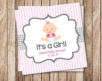 Printable It's a Girl Tags, Printable Baby Shower Tags, Personalized Printable Tags, Personalized Baby Shower Labels