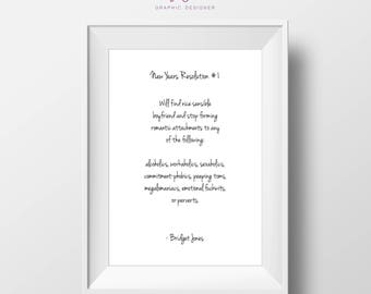 Bridget Jones   New Years Resolution   Print