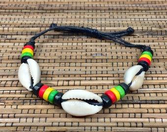 Cowrie Shell Bracelet Rasta Leather Bracelet - Rasta Cowrie Bracelet - Rasta Cowry Bracelet - Handmade Rasta Bracelet - Rasta Shell Bracelet