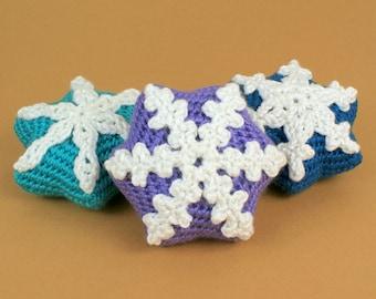 PDF Snow Star Ornaments CROCHET PATTERN: 3 unique designs