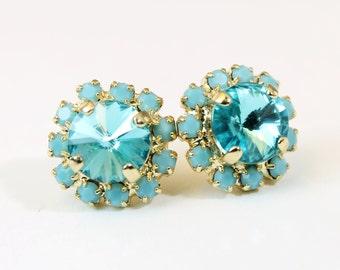 Turquoise Studs Aqua Blue Stud earrings Blue Turquoise Swarovski  Crystal Gold Stud earrings Halo Aqua Blue Wedding,Gold ,Lt. Turquoise,GE95
