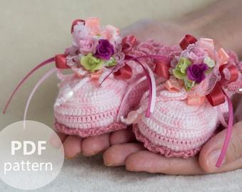 Crochet Booties for Newborn Baby Girl - PDF PATTERN