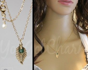 May Emerald Birthstone Charm Leaf Necklace -  Leaf Charm Necklace - Gold Leaf - Celebrity Inspired - Layering Necklace - Layered Necklace