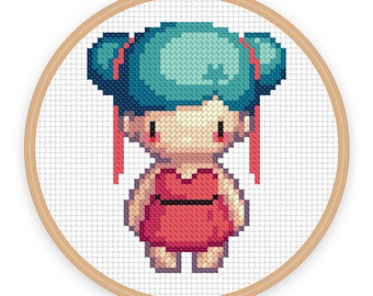 LUNA: a pixel art counted cross stitch pattern - digital download - printable pdf file