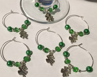 Set of 6 Lucky four leaf clover Wine Glass Charms