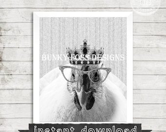 Hipster Chicken With Crown And Glasses, Print, Printable, Printable Art, Chicken, Crown, Funny, Hipster, Instant Download, Chicken Print