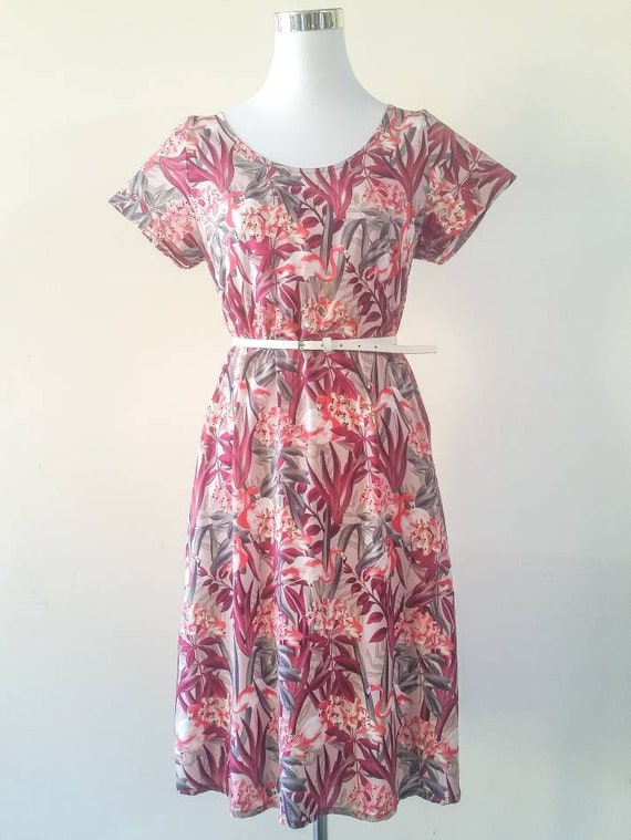 The Ziggy loose fit tunic dress with pockets in pink flamingo print
