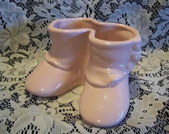 Haeger Pink Side Button Shoes Planter