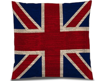 """British Flag Pillow, Union jack Fabric, Printed UK flag, Cool Pillow Cover, Gift for Her, PIllow, 18"""" PIllow Cover, English Flag Print"""