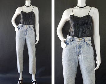 Vintage Lee Rider Jeans, 80s Denim Jeans, Acid Washed Denim, Distressed Denim Jeans, High Waisted Mom Jeans, Women's Size 8 Petite