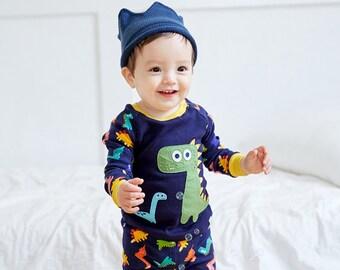 12M-7T 100% Cotton 2pcs Infant Kids Boys Loungewear Pajama Sleepwear Set Dino