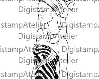 Zebra Woman. INSTANT DOWNLOAD Digital Digi Stamps