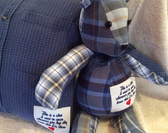 Memory Bear made from a  loved ones clothing these are made from grandpa's shirts