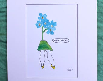 Forget-me-not watercolor print