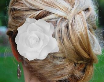 Ivory Hair Flower, Gardenia Hair Flower, wedding hair accessories, wedding flower clip, hair flower clip, ivory hair flower