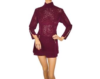 Vintage 1960s 70s Hot Pants and Top Purple Velvet Lace - Size M
