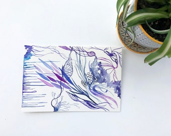 Purple Indigo Blue Watercolor Abstract Original Art Botanical Floral Postcard-Size 4 x 6 Painting Art