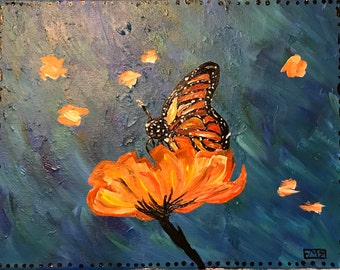 Fire of A Butterfly  - Original Acrylic Painting on canvas