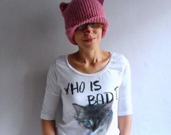 Knit Cat Ear Hat, Cat Ear Beanie, Pink Cat Hat, Cat Beanie Pink Hat, Cat Hat , Chunky Knit, Pink Pussy Hat