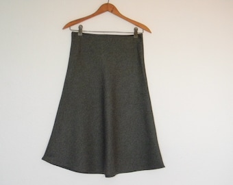 FREE usa SHIPPING Vintage A-line bias skirt charcoal gray MOD chic polyester size S