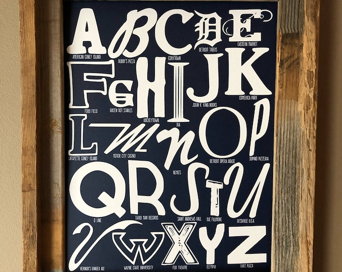 The Alphabet of Detroit Word Art (Dark Blue) - Unframed