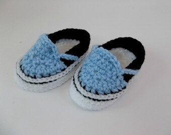 Baby Booties  Crochet Sneakers Blue Slip-on Vans Style Baby Shoes Slippers