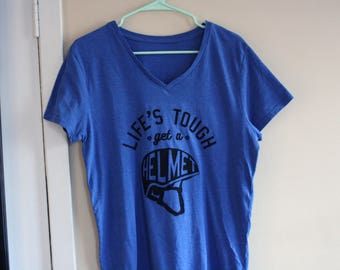 Life's Tough Get a Helmet - screenprinted shirt - Boy Meets World quote - upcycled - adult unisex medium