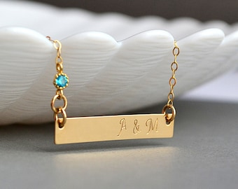 Personalized Necklace, Bar Necklace, Gold Initial Bar Necklace, Gold Bar, Horizontal Bar, Personalized Gold Bar Necklace