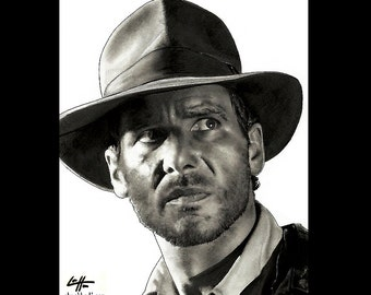 "Print 11x14"" - Indiana Jones Raiders of the Lost Ark Adventure Harrison Ford 80s Fantasy Pop Art Dark Art Kingdom Temple Crusade Vintage"