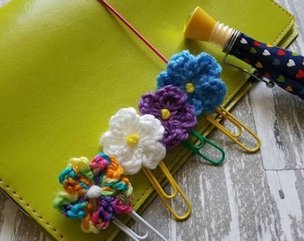 Crochet Flower Planner Clip, Handmade Clip, Flower Bookmark, Crochet Flower, Planner Clip, Bookmark, Journal Clip