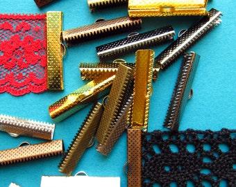 500 pieces 30mm Ribbon Clamps with Loop -- Gunmetal, Antique Bronze, Antique Copper