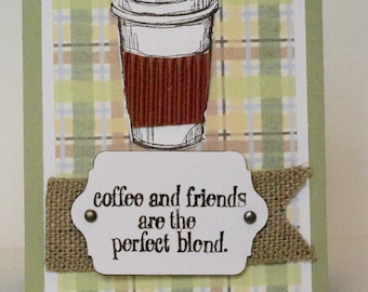 Handmade Coffee Lover Card, Cute Blank Card for Birthday, Thank You, Plaid Card for Best Friend, Latte Gift Card Holder, Co Worker Java Card