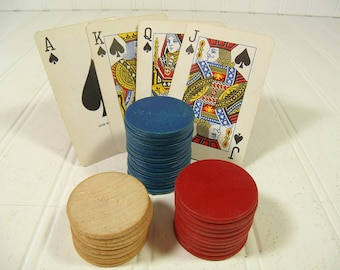 Pla-M-Wel Poker Chips Collection of 32 Vintage Wooden - Red, Blue & Natural Wood Round Coin Pieces for Repurposing - Embossed with Pla-M-Wel