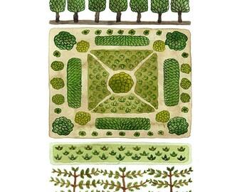 GROßE Parterre Garten Nr. 3 drucken, Aquarell Reproduktion, Giclée-Druck, Garten-Plan, englischer Garten Abbildung, pflanzlichen