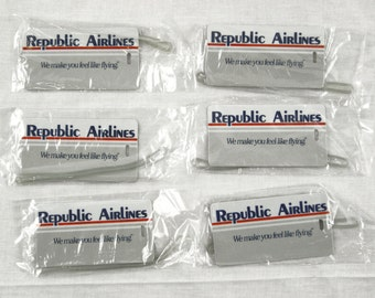Vintage 1980's Republic Airlines Luggage Tag Set 6 Factory Sealed Luggage Tags