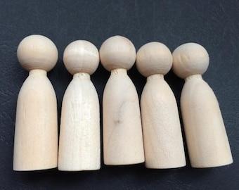 8Pcs  50x15mm unfinished wood peg doll Wood Figures   (  NW029)