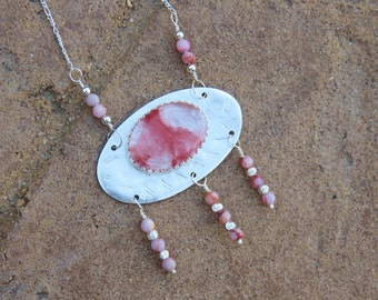 S-116 Cherry Quartz Sterling Silver Pendant Necklace, Silversmith Jewelry, Quartz Jewelry, Metalsmith Jewelry, 925 Jewelry