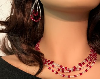 Czech Glass Necklace: Red Cubes and Crystal Seed Beads