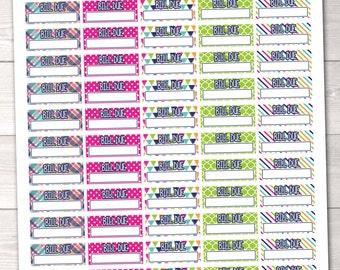 Bill Due Instant Download Planner Stickers Printable PDF Budget Planning Bill Due Sticker Set