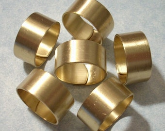 12 Smooth Band Wide Brass Ring Blanks
