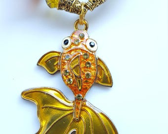 Handmade fan-tail goldfish necklace. Hand painted and matched with Czech glass, German glass, and crystal