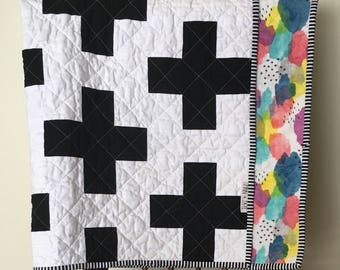 Plus Baby Quilt, Modern and Minimal Graphic Baby Quilt in Black and White