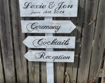 4 pc Hand painted & cut Wood Directional Sign Post for wedding Customized Colors Wording Font  Reception, Ceremony Arrows