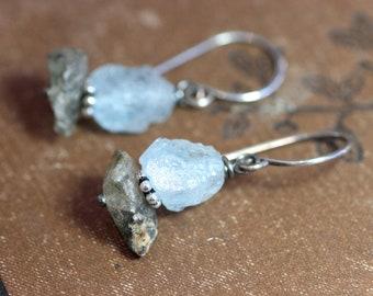 Glacial Ice Age Aquamarine Earrings Light Blue Rustic Rough Nugget Earrings Tourmalinated Quartz Earrings