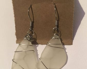 White wire-wrapped Sea Glass earrings