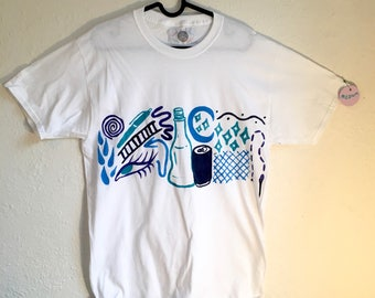 Painted White T-Shirt by Sam Pletcher 〰 Hand Painted One of a Kind Adult Medium Shirt 〰 Dark Violet, Navy Blue, Sky Blue and Turquoise